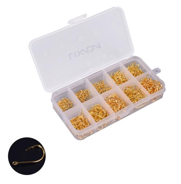 600 Hooks Gold-Color High Carbon Steel in box - GrejMarkedet