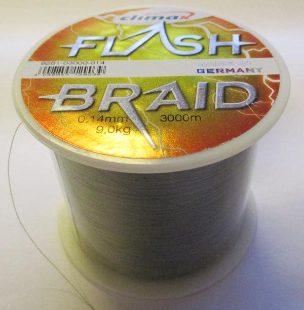 Climax Flash Braid - Bulk Spole 3000m, 0.14mm, 9.0kg, Olive - GrejMarkedet