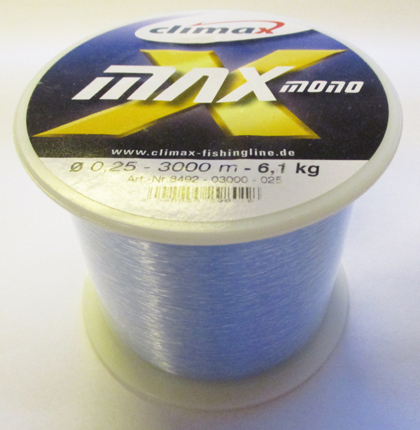 Climax Max Mono - Bulk Spole 3000m, 0.25mm, 6.1kg, Light Blue - GrejMarkedet