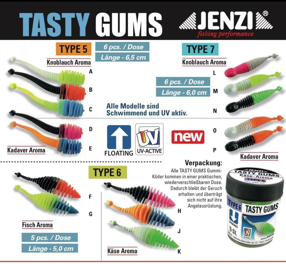 Jenzi Tasty Gums Type 5, 6, 7 Overview GrejMarkedet